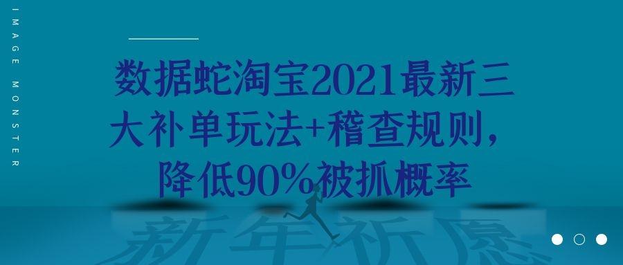 数据蛇淘宝2021最新三大补单玩法+稽查规则,降低90%被抓概率